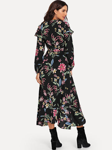 Formal Dresses - Women's Trendy Multicolor Floral Print Knot Waist Wrap Dress