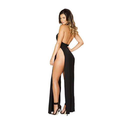Plus Size Halter Neck Maxi Slit Cocktail Dress