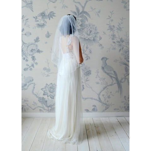 Cocktail & Party Dresses - Women's Trendy Abbie Veil White Cascading Cut Trimmed Bridal Dress