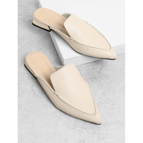 - Women's Trendy Apricot PU Pointed Toe Mules