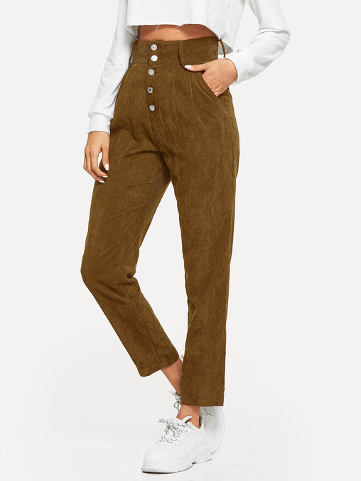 Coffee Buttoned Front Slant Pocket Corduroy Pants