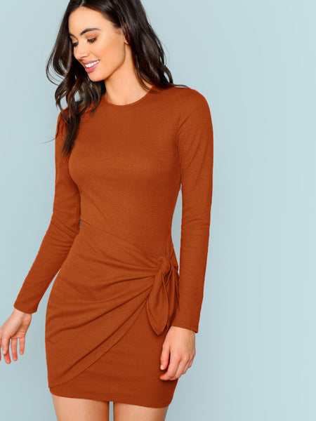 Red Knot Side Solid Bodycon Short Dress