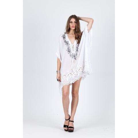 Tunic Tops & Kaftans - Women's Trendy Batwing Sleeves Lace Up Cotton Tunic Top