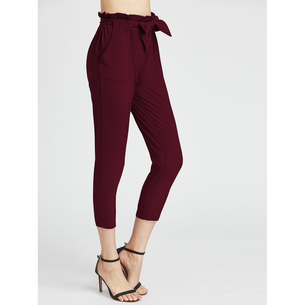 Burgundy High Waist Tapered Carrot Pants - Fashiontage