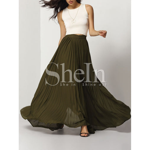 Plus Size Army Green Pleated Full Length Skirt