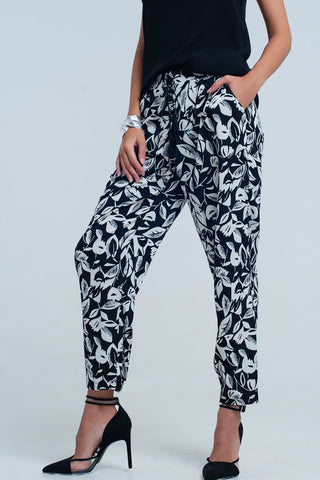 Wide Leg Pants - Women's Trendy Black Floral Print Wide Leg Pant