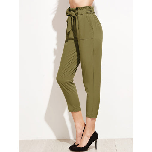 Army Green High Waist Plain Tapered Carrot Crop Pant