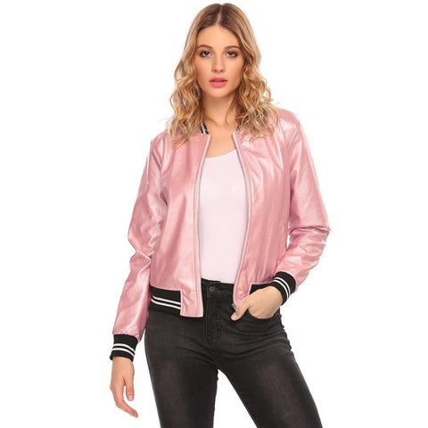 Jackets - Women's Trendy Black Stand Collar Casual Leather Jacket