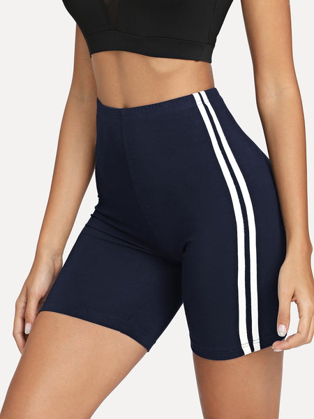 Navy Contrast Striped Side Leggings Shorts