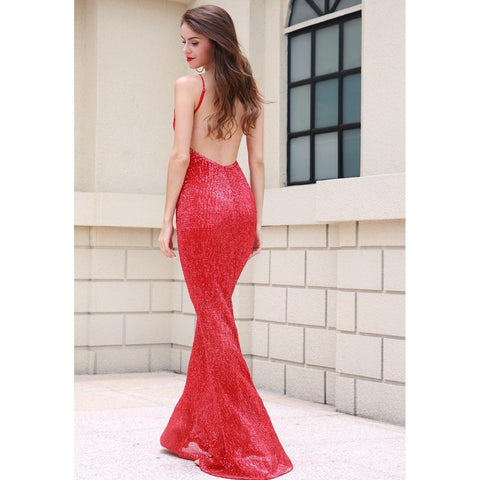 Bridal Dresses - Women's Trendy Red Sequin Cocktail Dress
