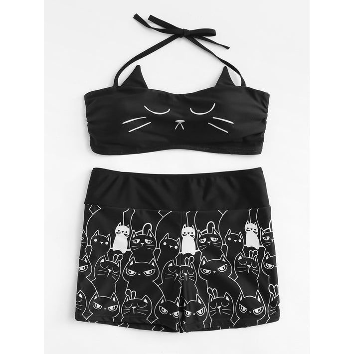 Cat Print Two Piece Swimsuit - Fashiontage
