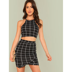 Black and White Grid Crop Halter Co-Ordinates