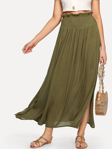 Army Green Frill Waist Pleated Split Skirt
