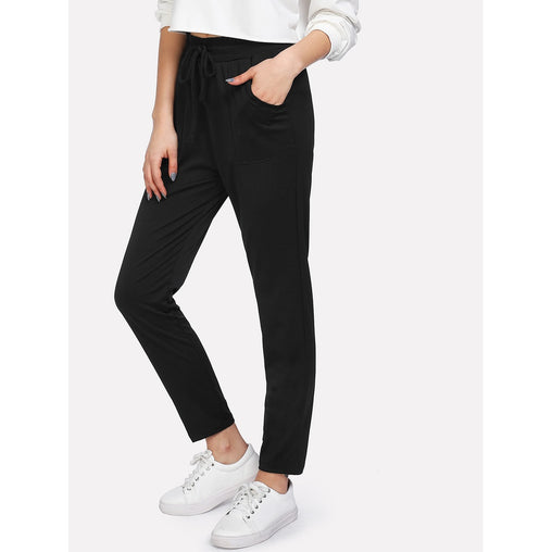 Black Mid Waist Crop Pants - Fashiontage