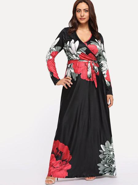 Plus size - Flower Print Wrap Maxi Dress