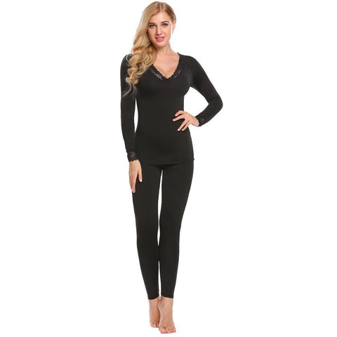 Cropped Pants - Women's Trendy Black V-Neck Long Sleeve Suit