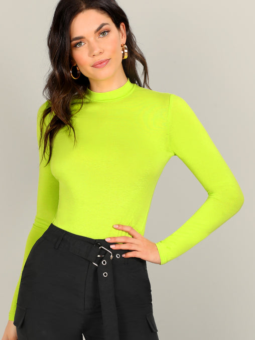 Yellow Neon Lime Mock-neck Slim Fitted T-Shirt