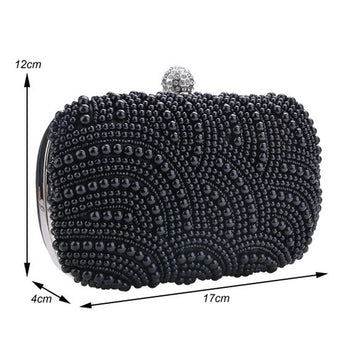 Black Pearl Beaded Small Clutch Bags