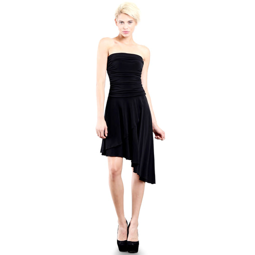 Black Strapless Cocktail Party Tube Dress