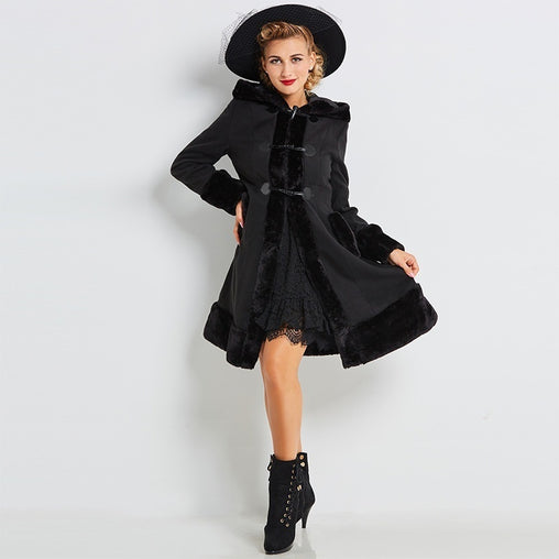Black Hooded Cotton Trench Coat