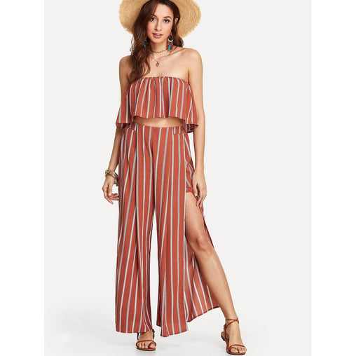 Maroon Sleeveless Striped Tube Top and Split Pants Co-Ord