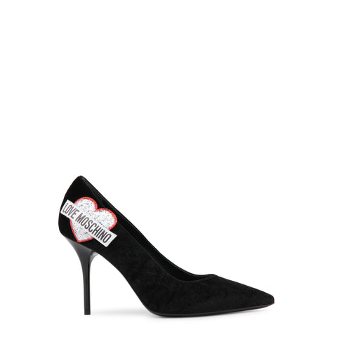 Pumps - Women's Trendy Love Moschino Black Leather Pointed Toe Pumps