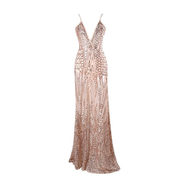 Elegant Gold Sequin Evening Dress