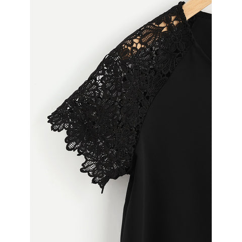 Sweatshirts - Women's Trendy Black Round Neck Floral Print Lace Top