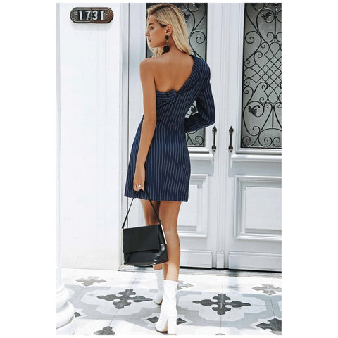 Ordinates - Women's Trendy Navy Blue Collar One Shoulder Suit
