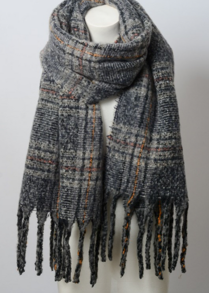 Soft Charcoal Mix Plaid Tassel Blanket Scarf