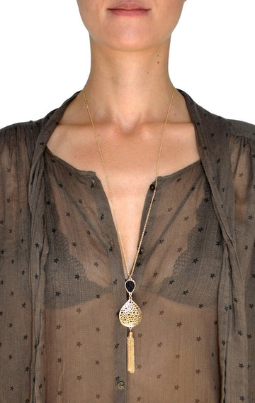 Black Gold Plated Chain Tassel Necklace