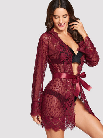 Nightwear - Women's Trendy Burgundy Eyelash Floral Print Lace Robe With Thong