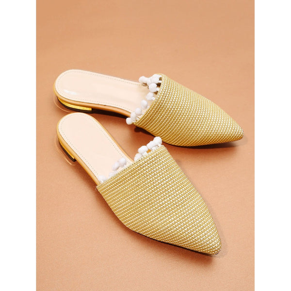 Yellow Pom Trim Flat Mules