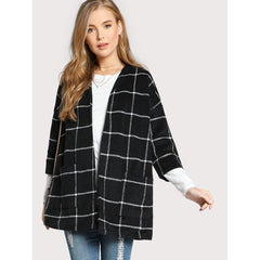 Grid Open Front Dropped Shoulder Coat - Fashiontage