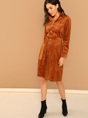 Ups - Women's Trendy Rust Button Front Waist Tie Long Sleeve Shirt Dress
