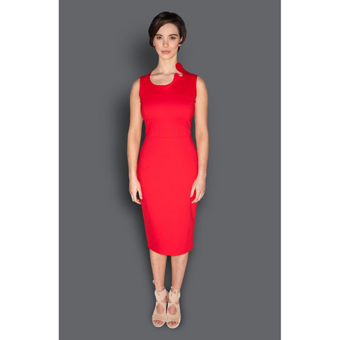 Day Dresses - Women's Trendy Red Asymmetric Neck Sheath Dress