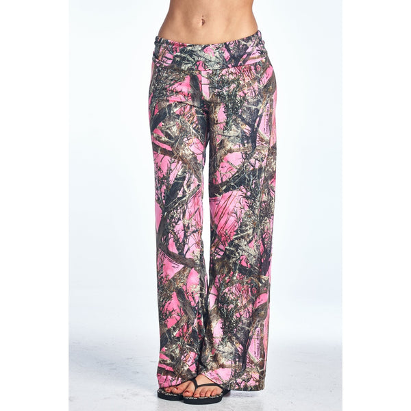 Wide Leg Pants - Women's Trendy Pink Waist Band Loose Fit Pant