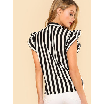 Black And White Tie Neck Cap Sleeve Blouse - Fashiontage