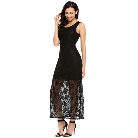 Formal Dresses - Women's Trendy Black Collar Sleeveless Maxi Dress