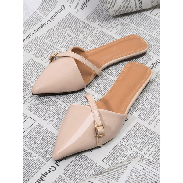 Black Pointed Toe Pu Flat Slippers