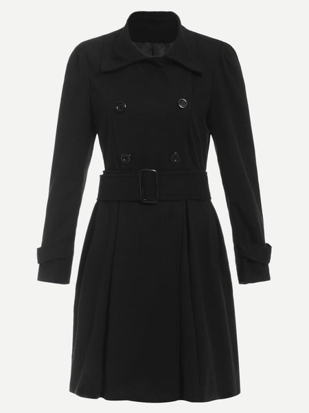Black Collar Short Length Coat