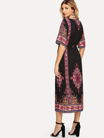 Multicolor V-Neckline Geo Print Dress