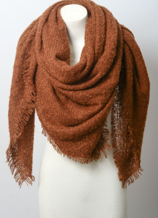 Warm Open Weave Rust Blanket Scarf