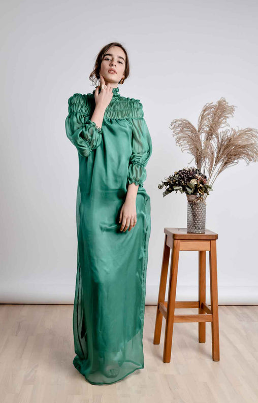 Green A-Line Cocktail Maxi Dress