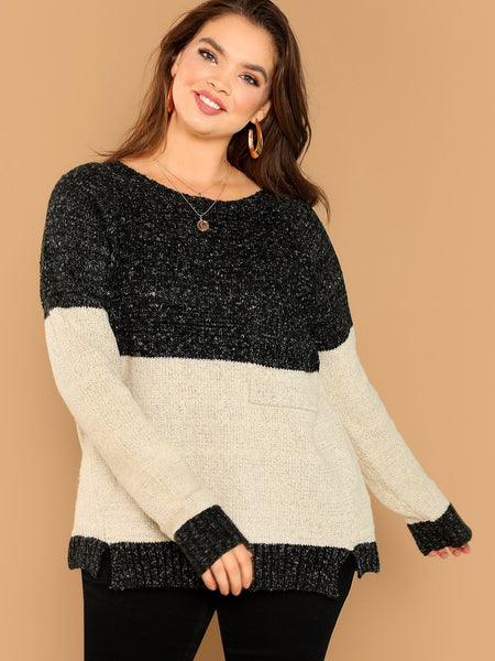 Plus Size Black And White Two Tone Colorblock Pullover Pocket Detail Sweater