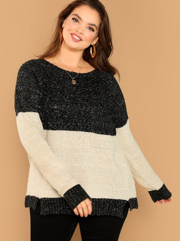 Plus Size Tops - Women's Trendy Plus Size Black And White Two Tone Colorblock Pullover Pocket Detail Sweater