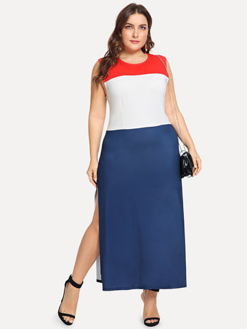 Plus Size Dresses - Women's Trendy Plus Size Multicolor Color Block Shell Dress