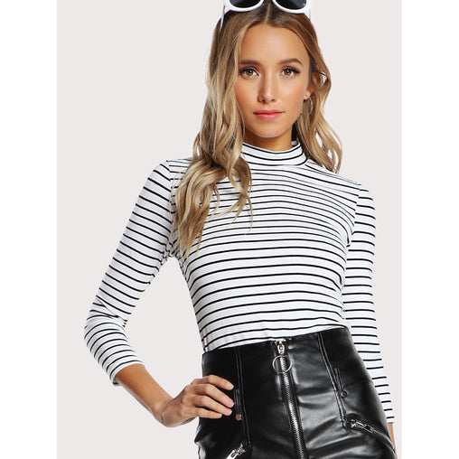 Black And White Slim Striped Fitted Tee