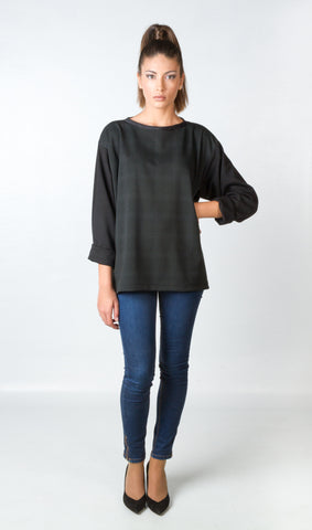 Shirts - Women's Trendy Black Chiffon Sweat Shirt