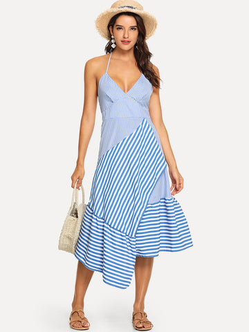 Blue Striped Ruffle Hem Knot Back Halter Dress